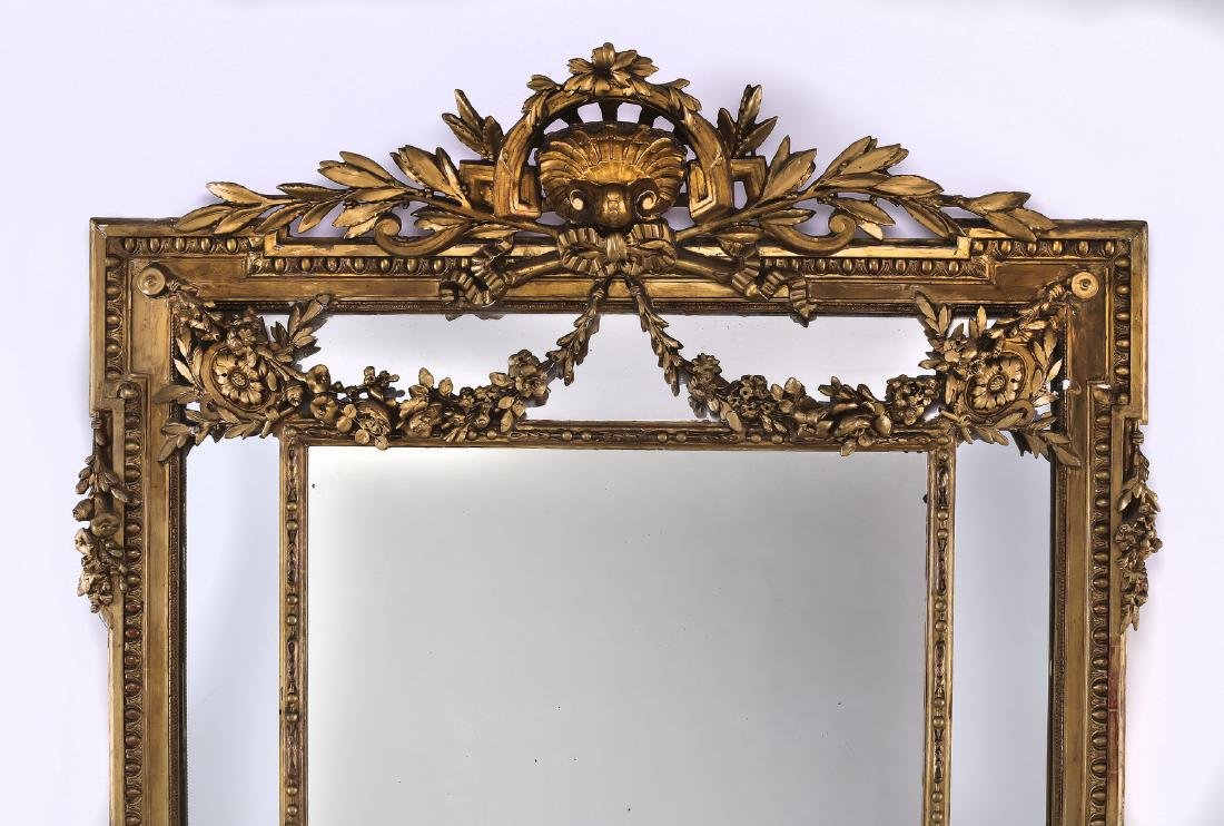 """19th c. Continental carved gilt wood mirror, 74""""h - 2"""