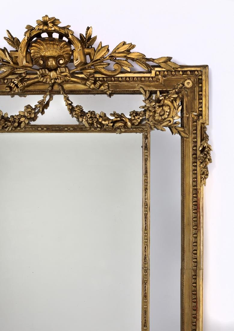 """19th c. Continental carved gilt wood mirror, 74""""h - 3"""