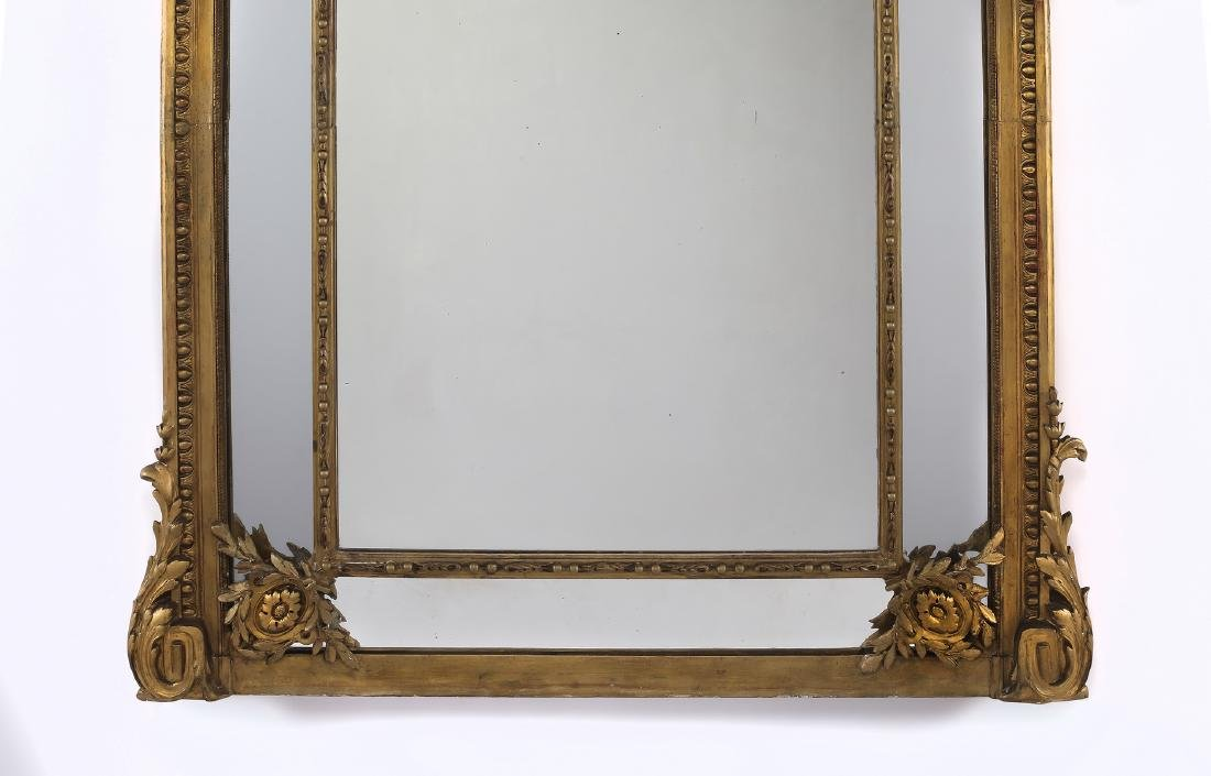 """19th c. Continental carved gilt wood mirror, 74""""h - 4"""