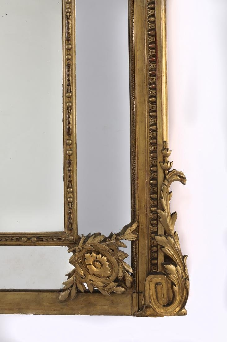 """19th c. Continental carved gilt wood mirror, 74""""h - 5"""