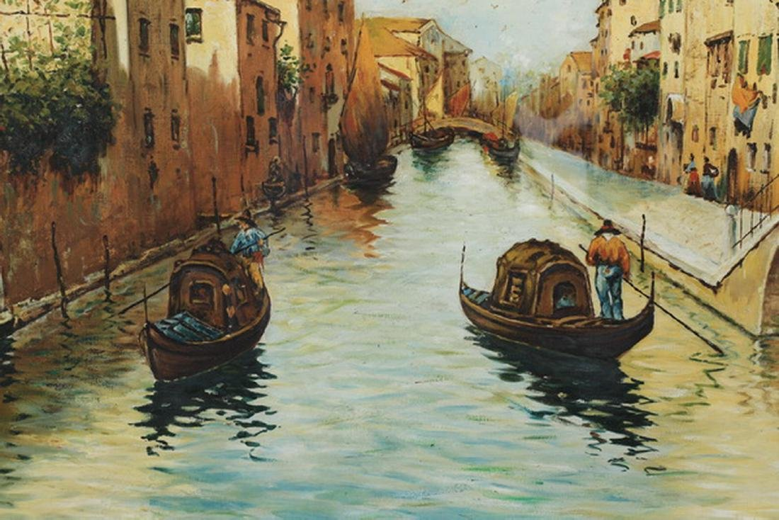Early 20th c Continental O/c Venetian canal, signed - 2