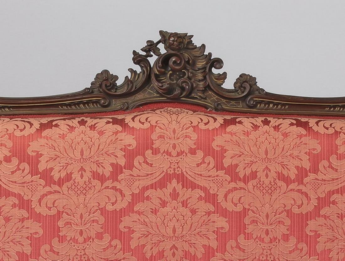 19th c. French Rococo style walnut settee in damask - 2