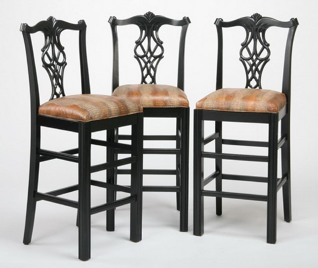 (3) Chippendale style bar stools w/ leather seats