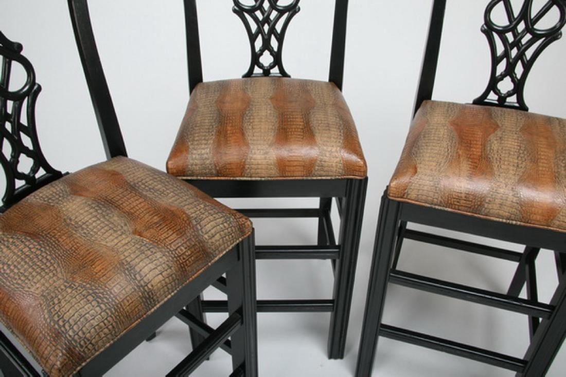 (3) Chippendale style bar stools w/ leather seats - 2