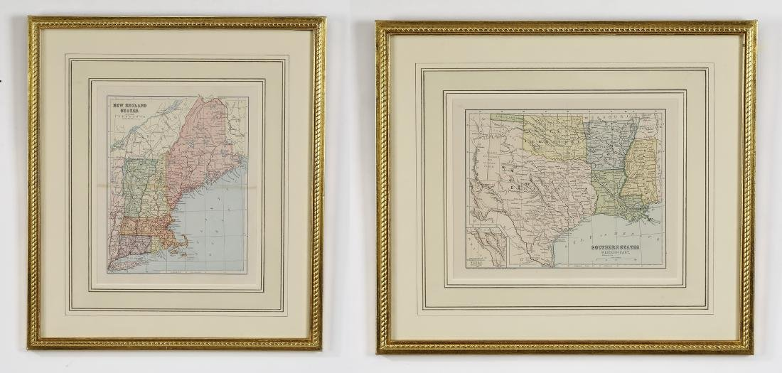 (2) Early 20th c. maps, New England & Southern States