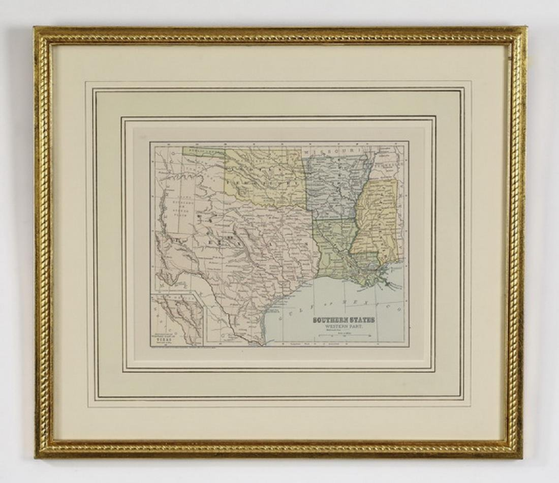 (2) Early 20th c. maps, New England & Southern States - 3