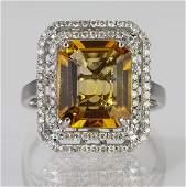 Citrine, diamond and 14k white gold ring