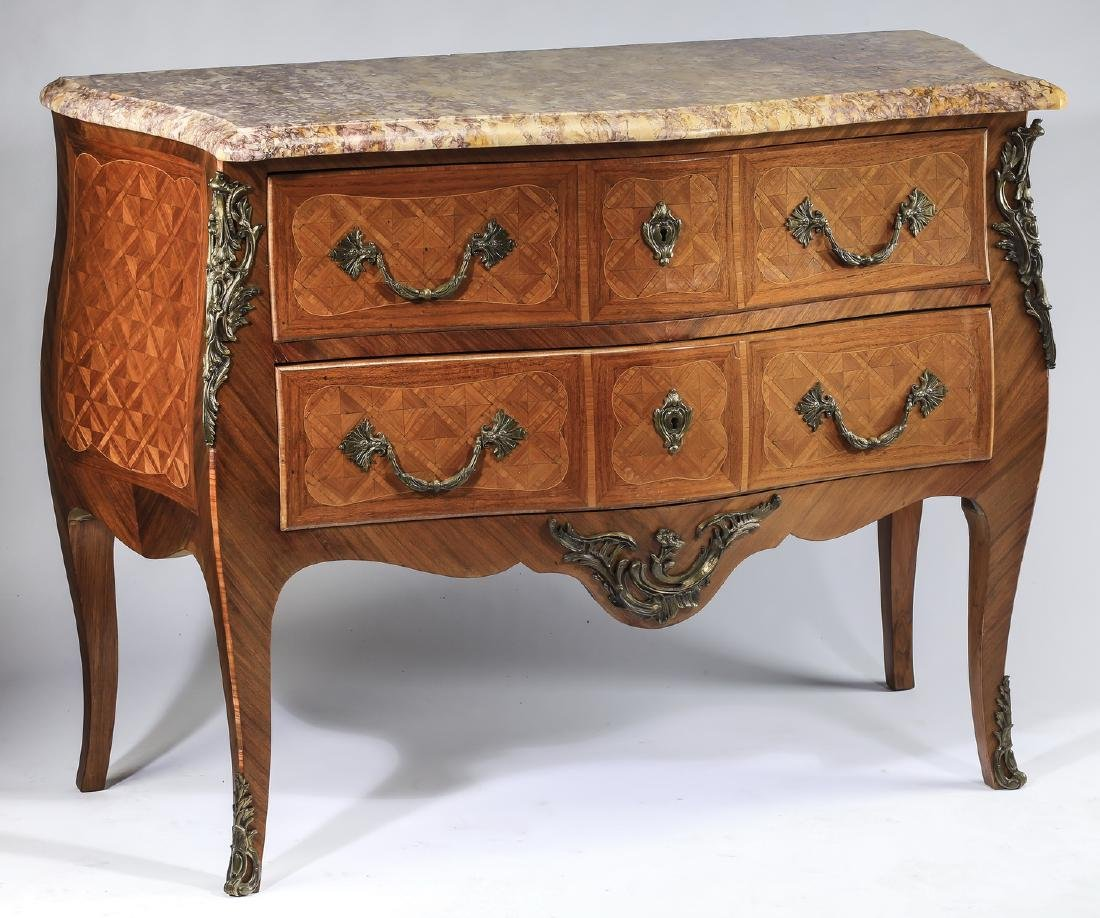 """19th c. French marble top marquetry commode, 45""""w"""