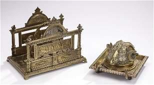 2 19th c brass desk accessories largest 8h