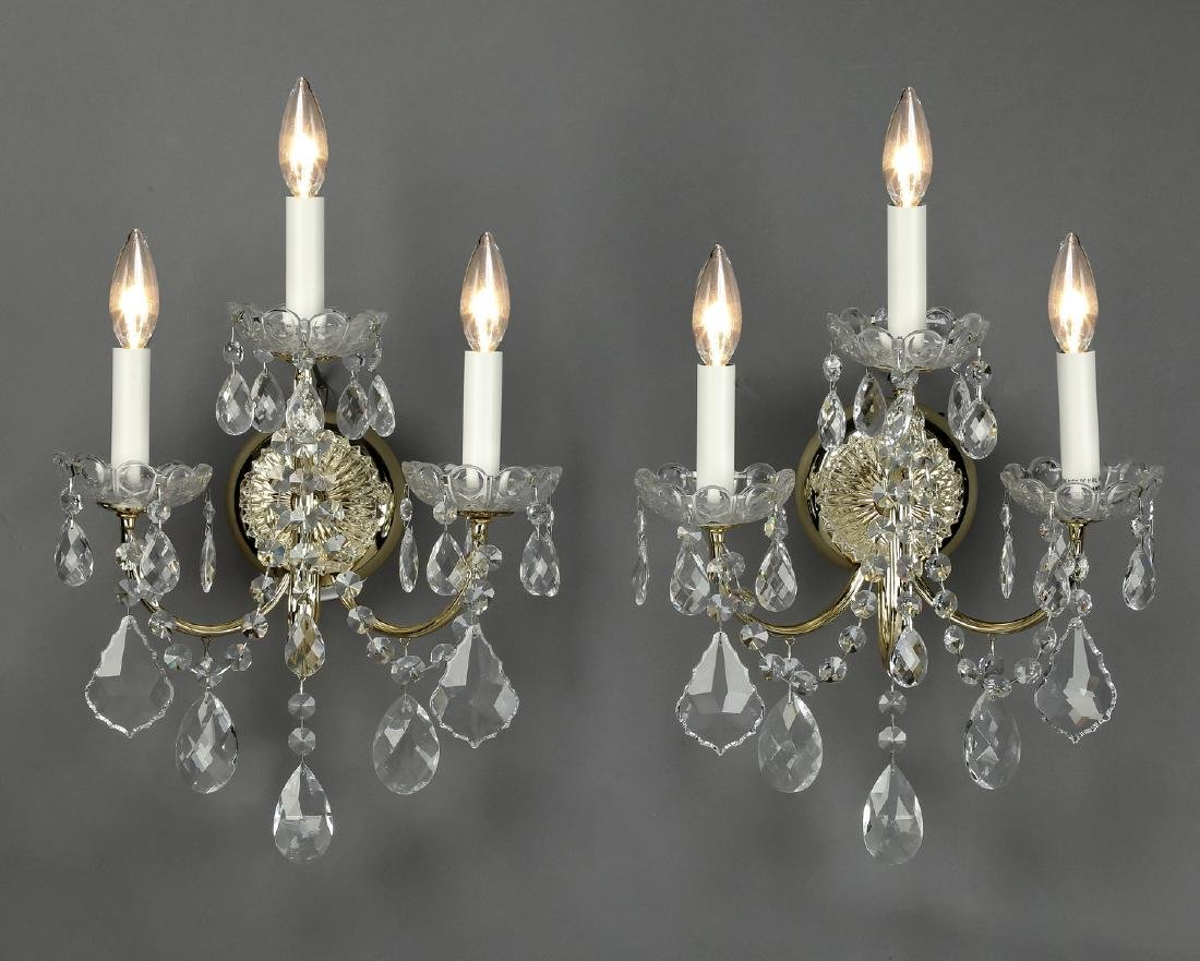 "(2) Schonbek crystal 3-light wall sconces, 18""h"