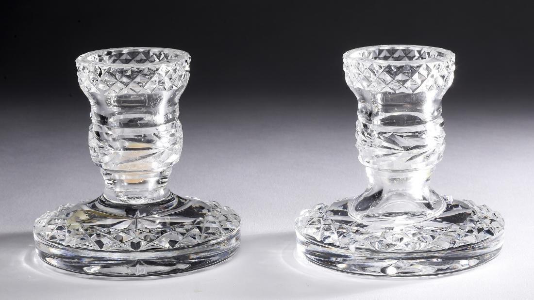 "(2) Waterford 'Glandore' crystal candlesticks, 3.5""h"