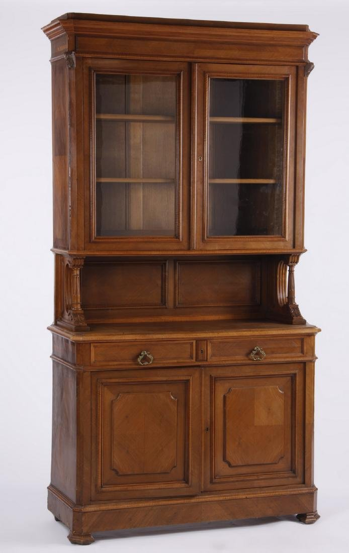 """19th c. French carved walnut cabinet, 94""""h"""
