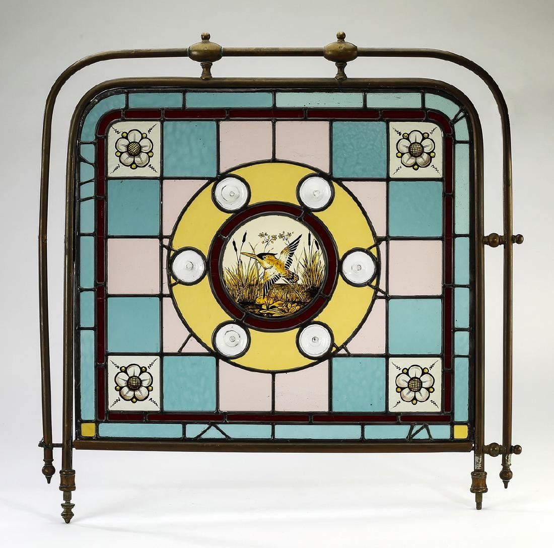 Aesthetic Movement mosaic glass & brass panel