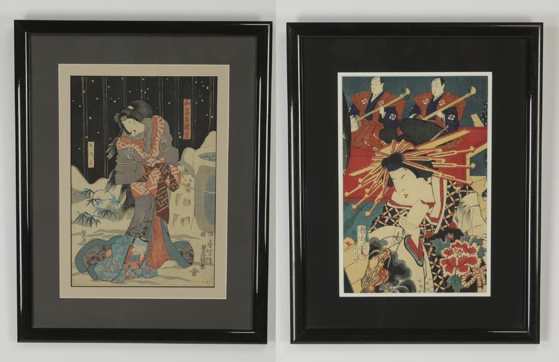 (2) 19th c. woodblocks by Toyokuni III & Kunichika