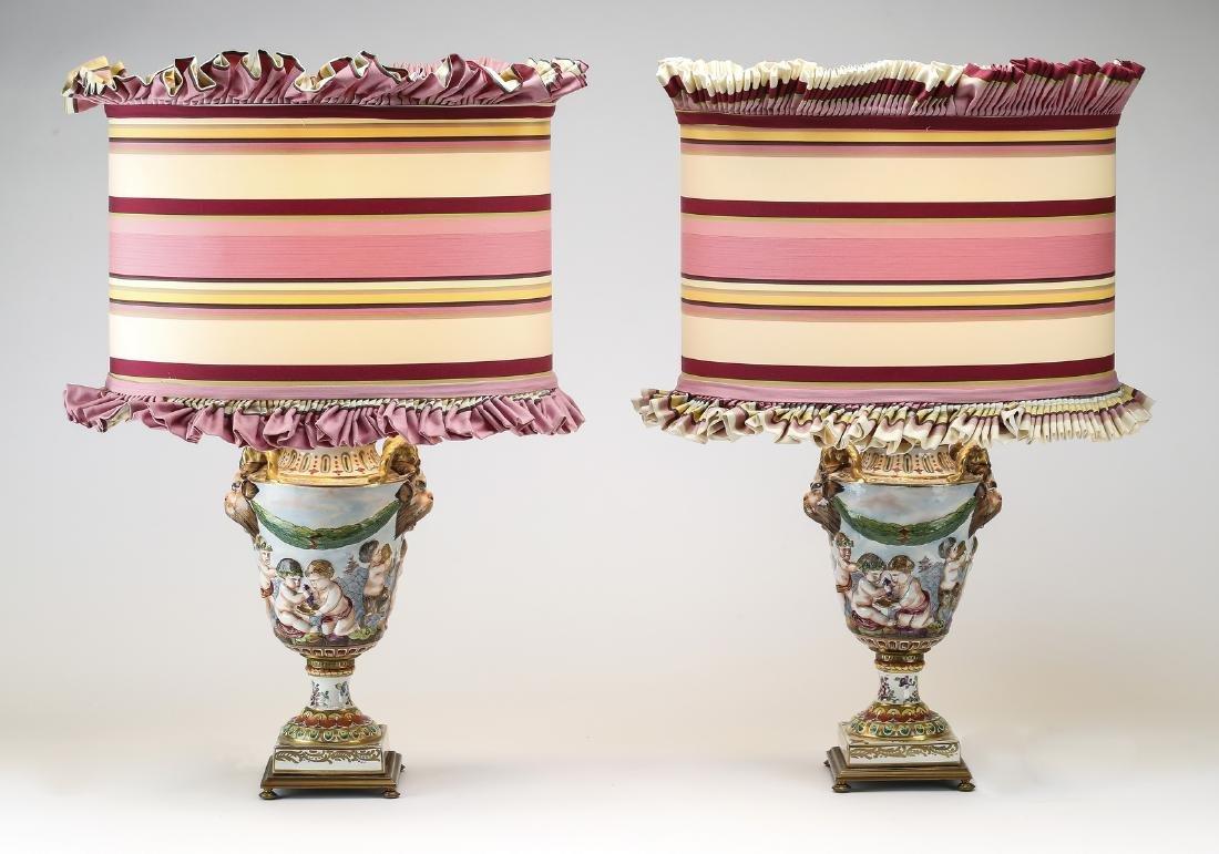 (2) Capodimonte style porcelain lamps w/custom shades