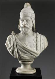 19th c. carved marble bust, S. Venier, Doge of Venice
