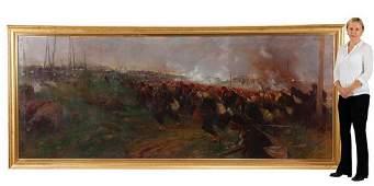 Monumental O/c battle scene, signed Edouard Detaille