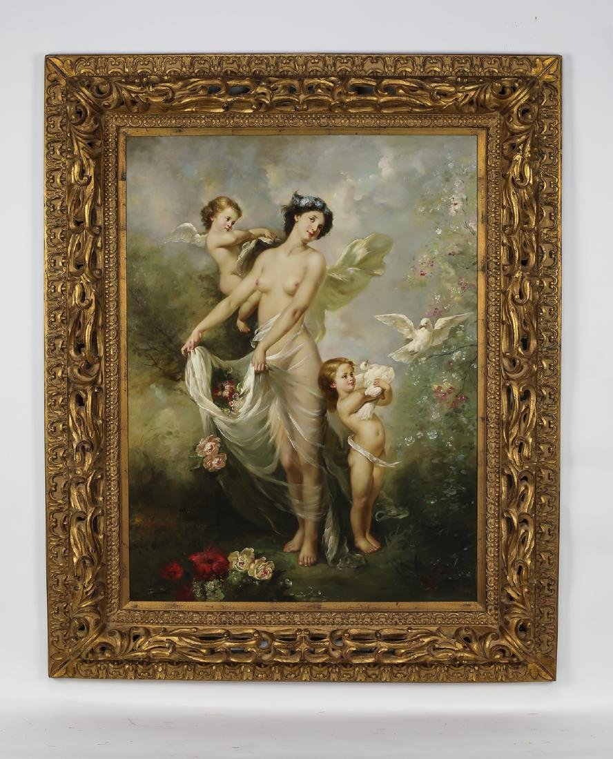 "Contemporary O/c  of Cupid and Venus, signed, 64""h"