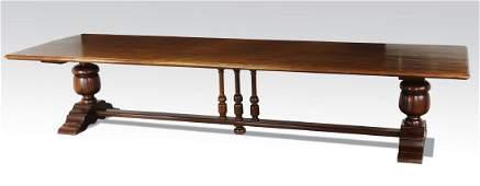 """Monumental 19th c. French mahogany farm table, 155""""l"""