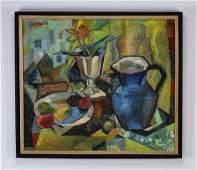 Karl Knaths Oc cubist still life of table setting