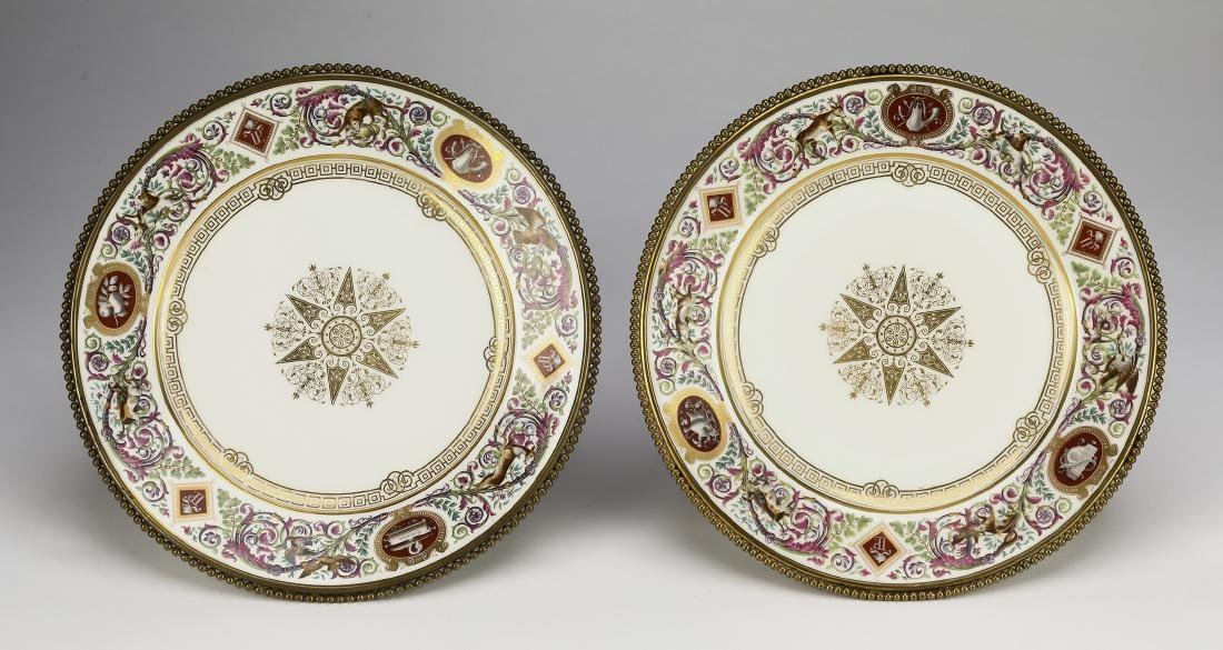 (2) Sevres style porcelain plates with gilding