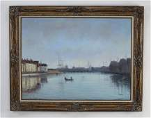 Early 20th c. Continental O/c harbor scene, signed