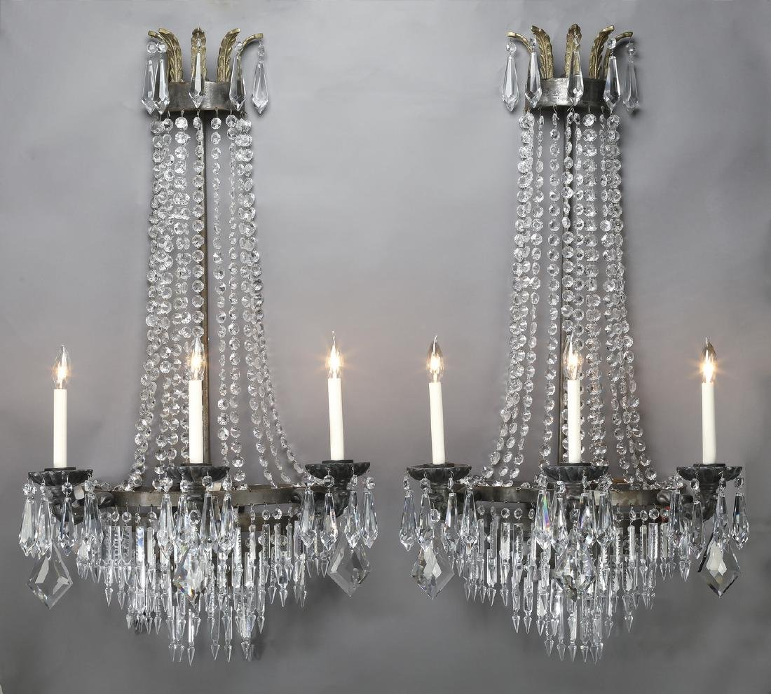 "(2) Empire style crystal and bronze sconces, 43""h"