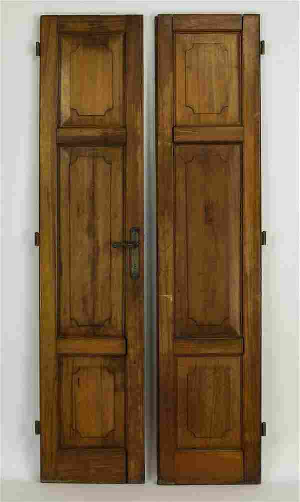 """(2) 19th c. French carved walnut doors, 82""""h"""