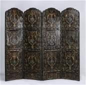19th c Portuguese leather screen Harrods London