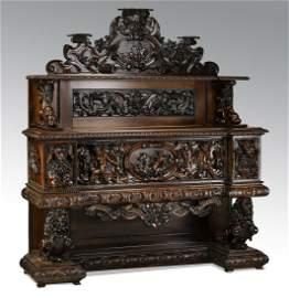 Monumental Italian walnut Baroque Revival buffet