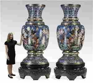 (2) Monumental Chinese cloisonne pheasant vases