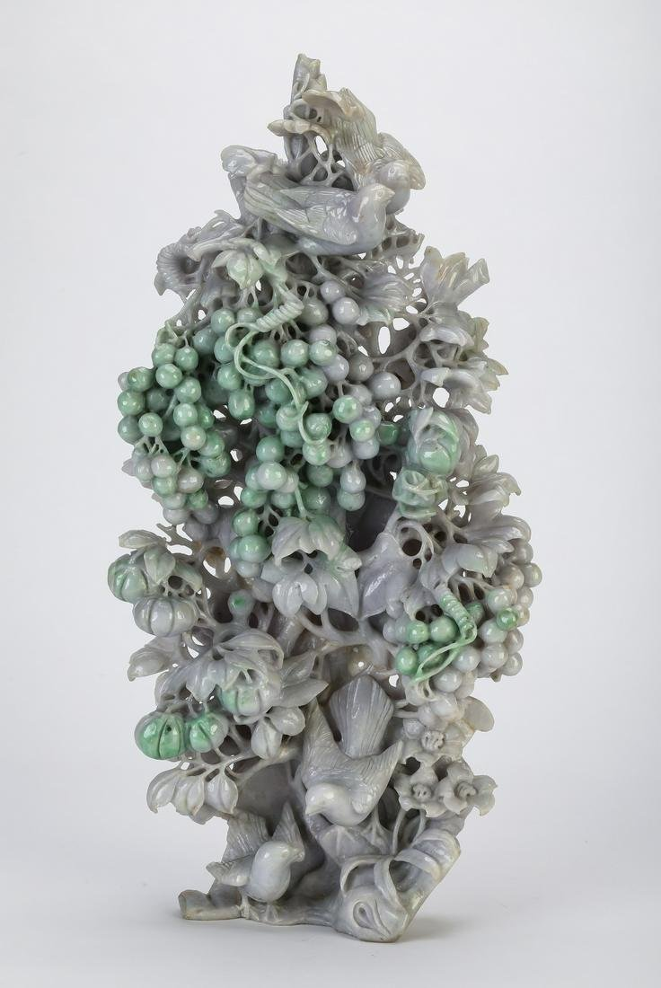 "Chinese jade sculpture of birds and grapevines, 17""h"