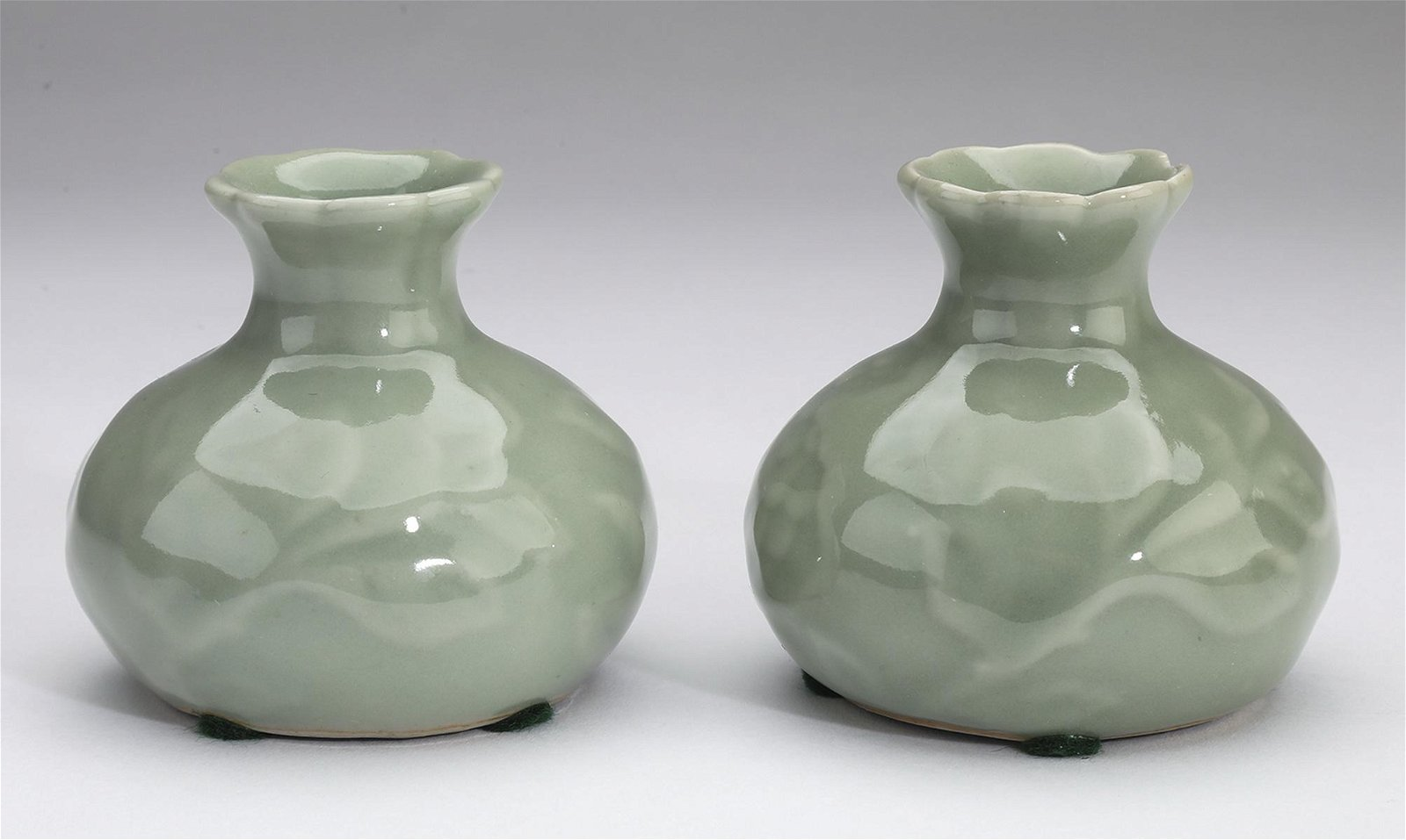 "(2) Diminutive Chinese celadon vases, 3""h"