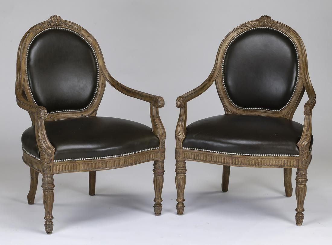 (2) Marge Carson Louis XV style leather fauteuils