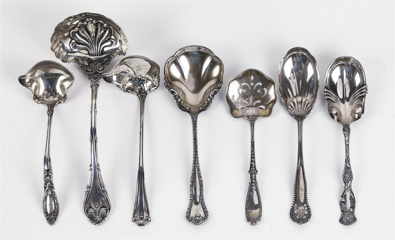 (7) Sterling silver Baroque style serving pieces