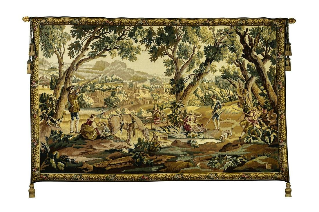 """French Aubosson style wool tapestry, 110""""w"""