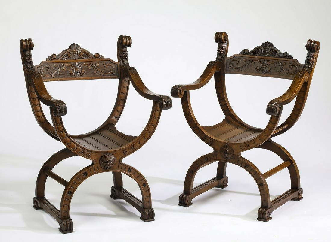 (2) Late 19th c. French walnut curule chairs