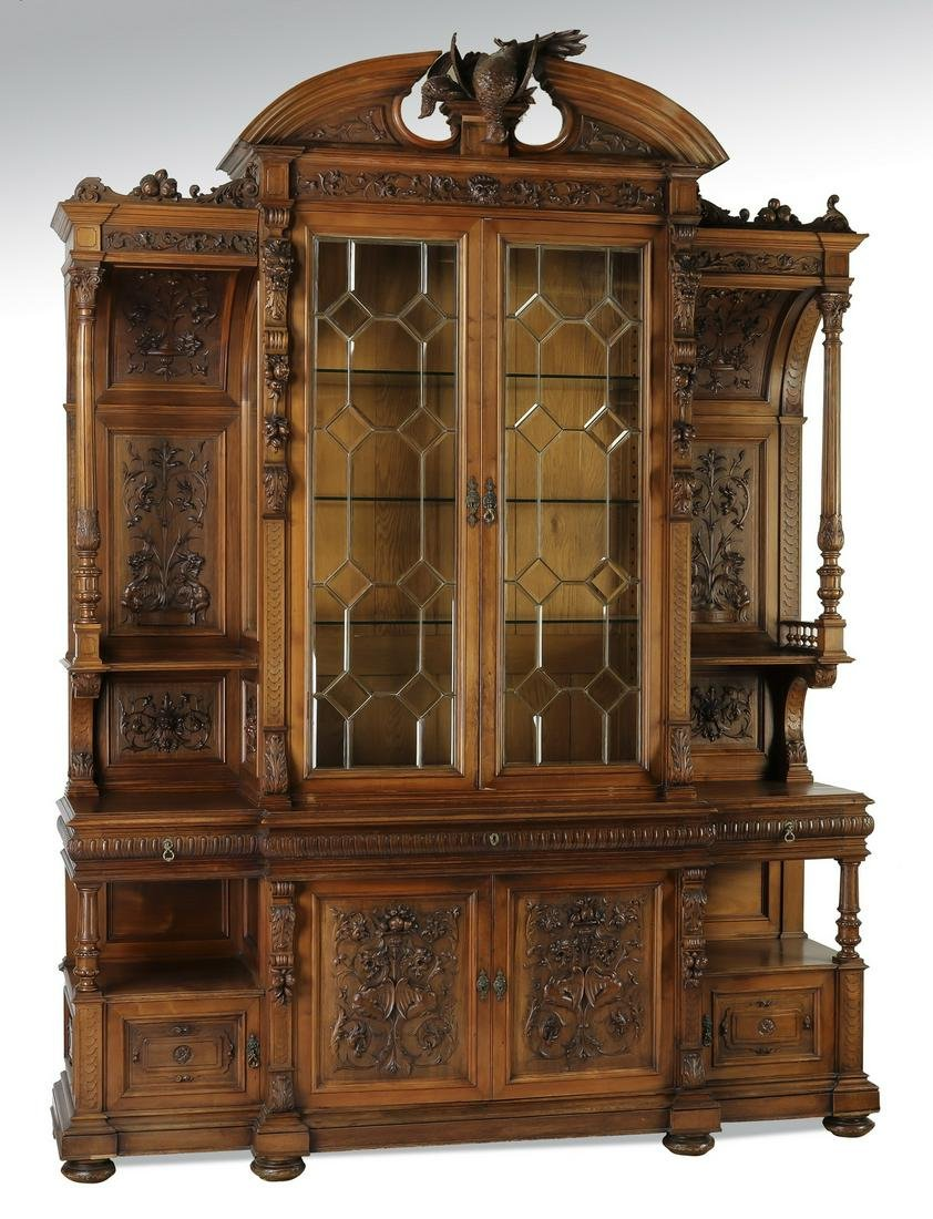 Monumental late 19th c. French carved walnut cabinet