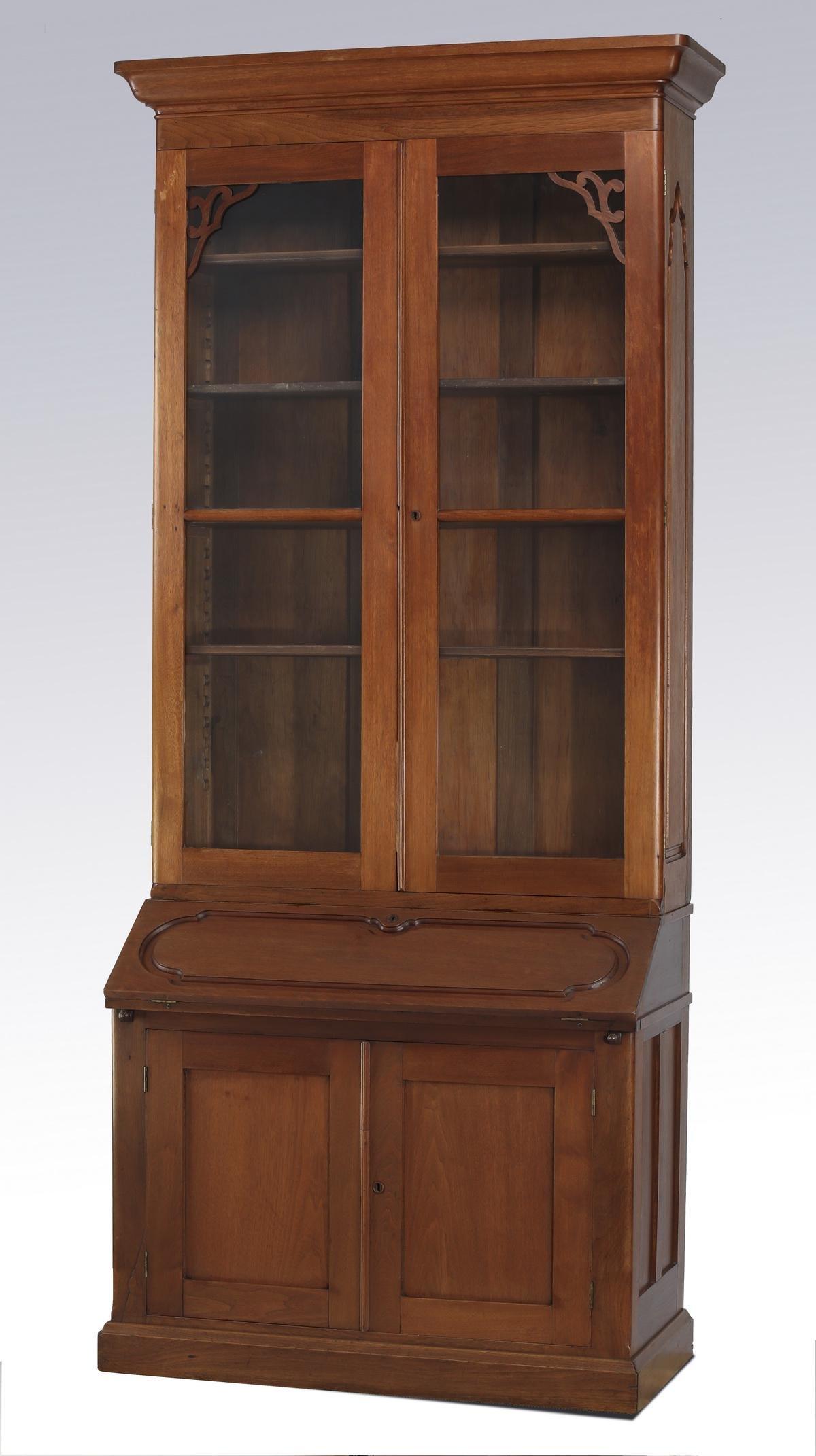 """19th c. American walnut secretary desk, 105""""h"""