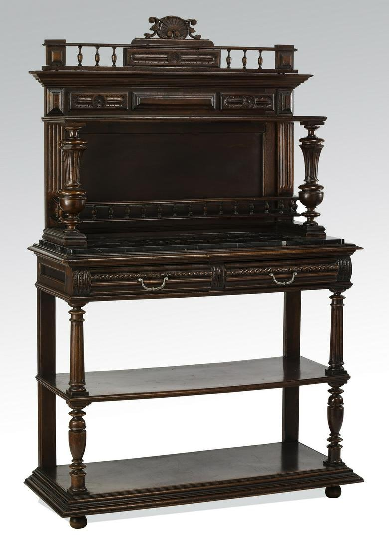 Early 20th c. French carved walnut marble top server