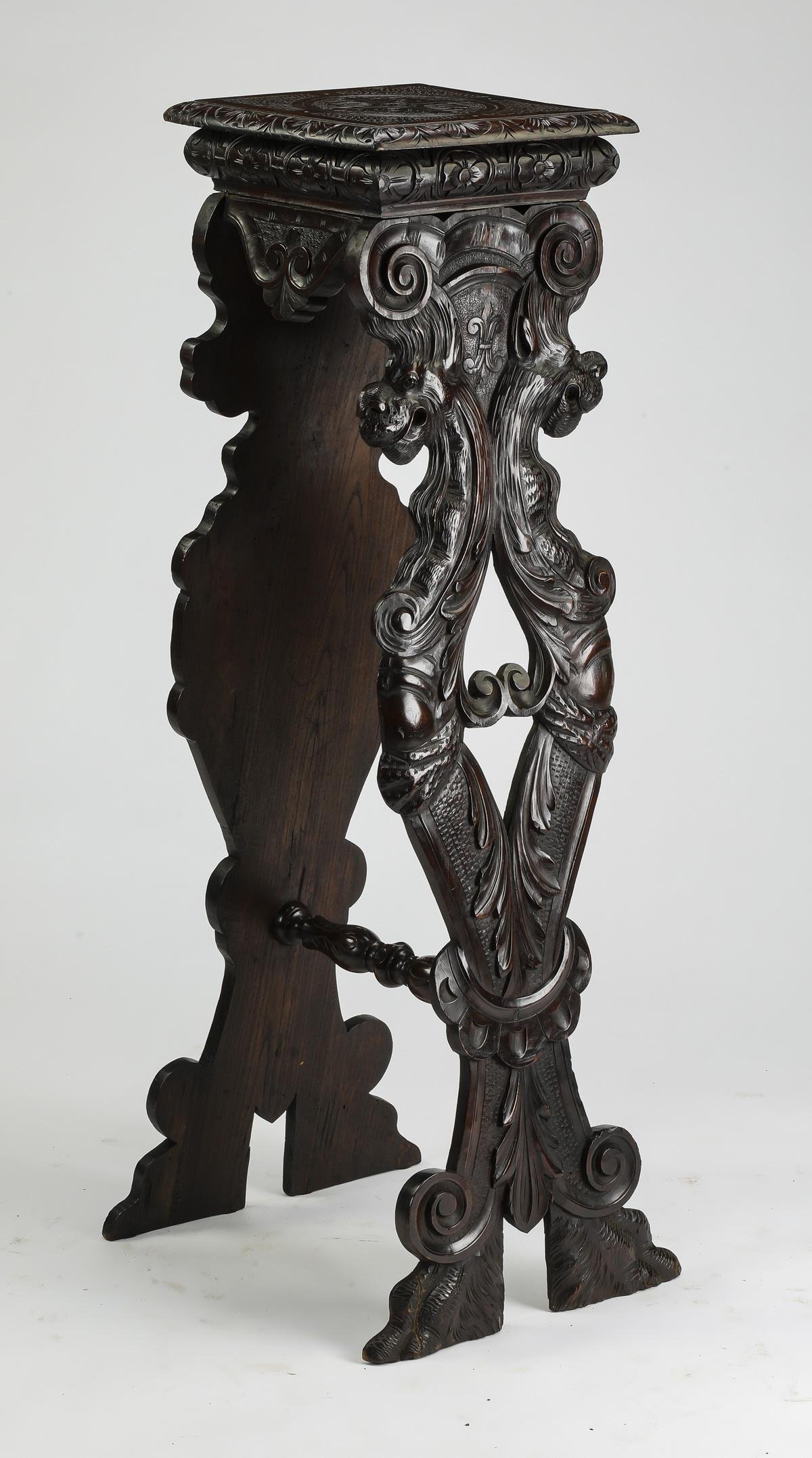 19th c. French Renaissance Revival style walnut stand