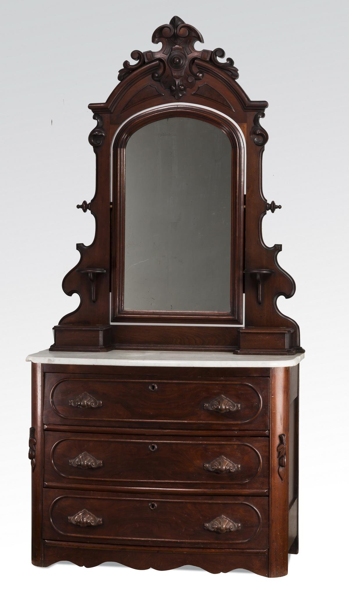"""19th c. mahogany marble top chest with mirror, 86""""h"""