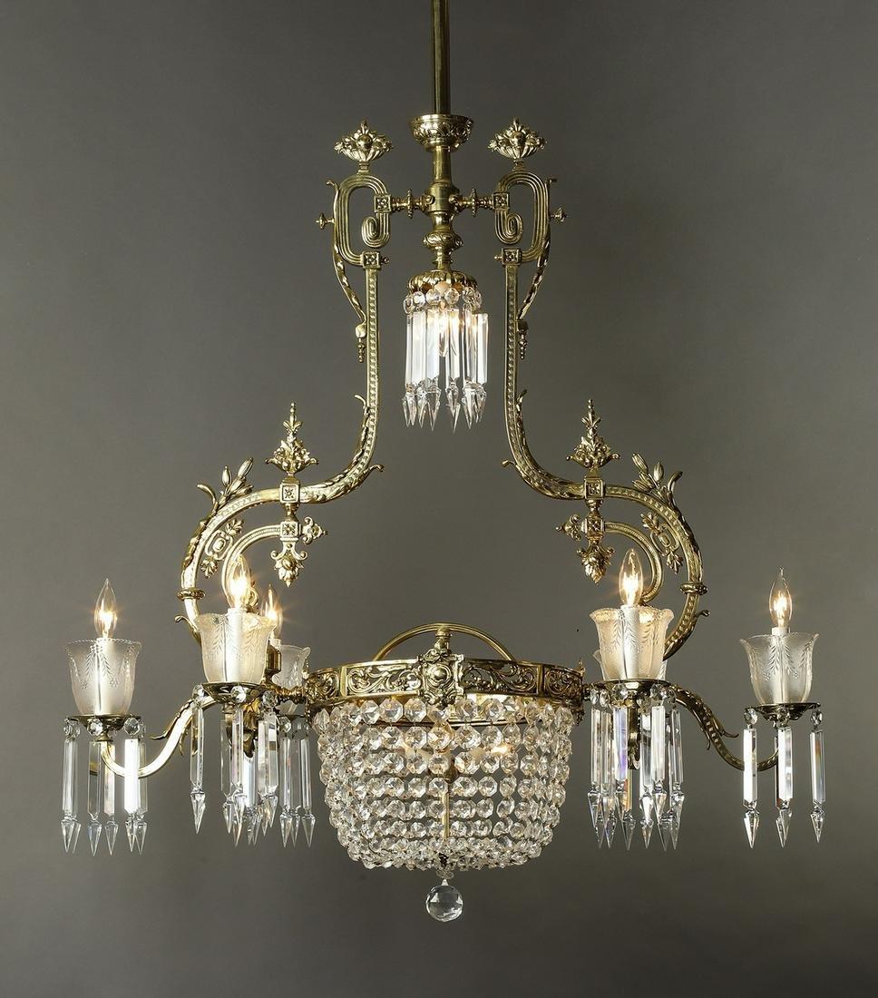 Victorian crystal and bronze 10-light chandelier