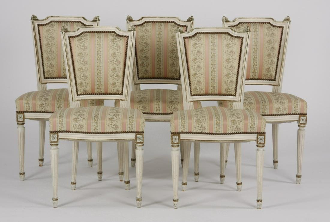 (5) Paint decorated French side chairs