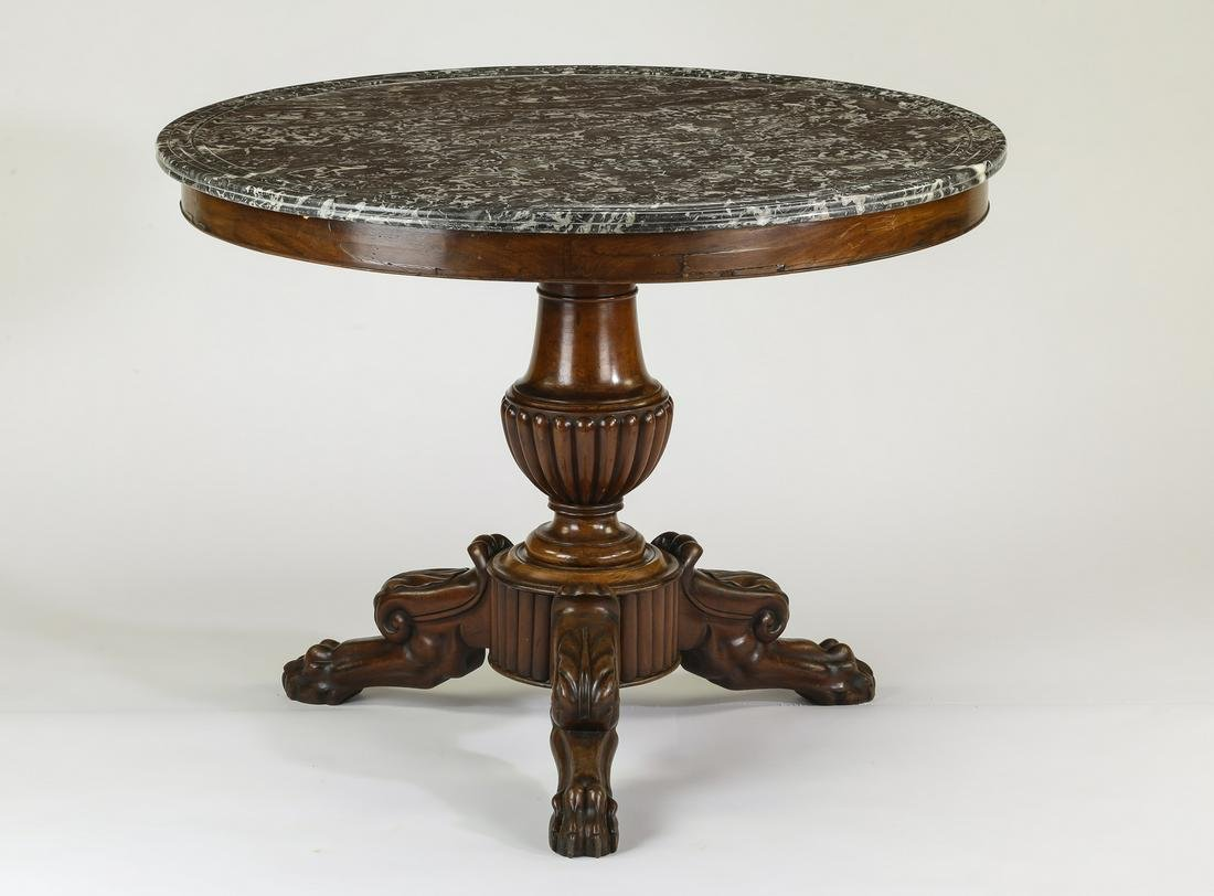 French Empire style marble and walnut pedestal table