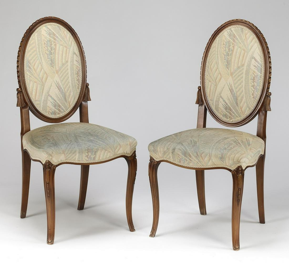 Pair of Louis XV style carved walnut side chairs