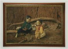 Chinese Oc of two boys in a farmyard signed 42w