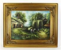 English School acrylic on canvas farm scene 65w