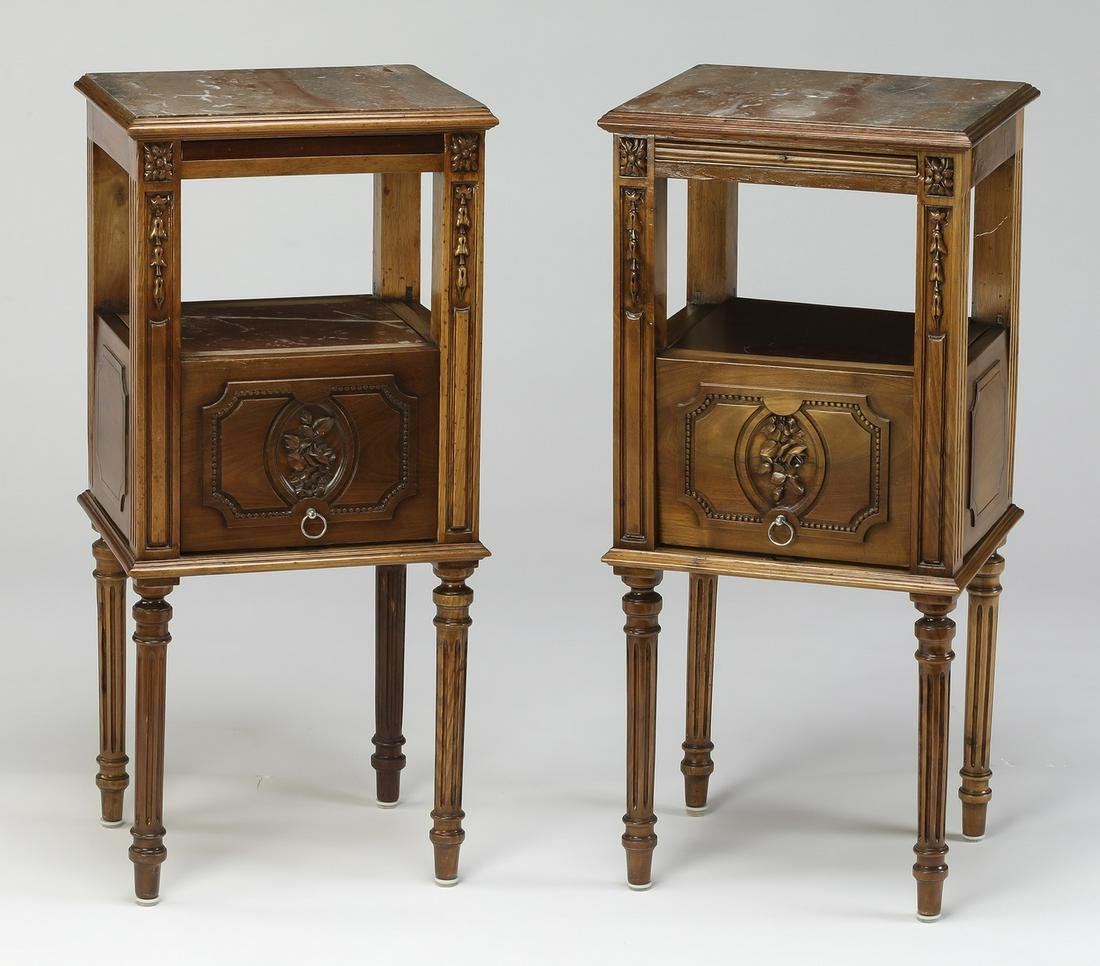 (2) 19th c. French walnut & marble night tables