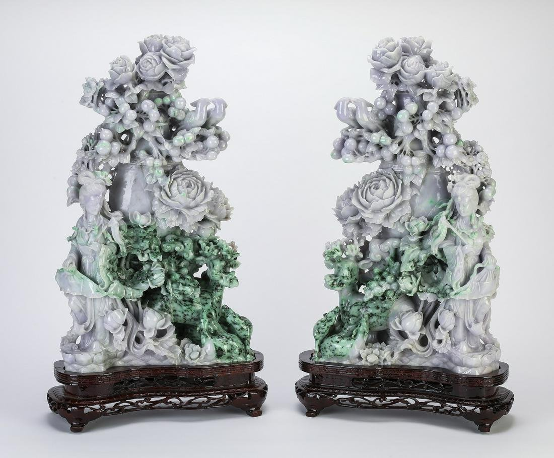"""(2) Chinese jade celestial beauties and flowers, 24""""h"""